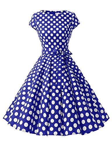 Kostüm 1950er Der Kinder Jahre (Dressystar Damen Vintage 50er Cap Sleeves Dot Einfarbig Rockabilly Swing Kleider Royalblau Weiß Dot B)