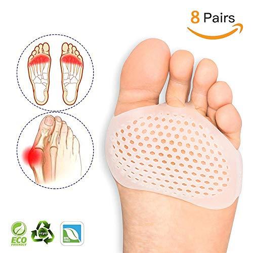 MQSS Gel Fuß Kissen, Mittelfußknochen Polster - Zehenspreizer, entzündeten Fußballen Korrektor für Diabetische Füße,Schmerzlinderung für Frauen, MännerWhite-8 Pairs -