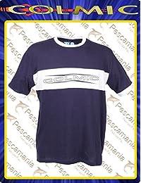 T-shirt colmic coton bleu avec bande blanche