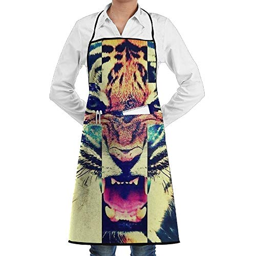 GDESFR Apron with Pock,Cross Colorful Tiger Faction Unisex Kitchen Cooking Garden Apron,Convenient Adjustable Sewing Pocket Waterproof Chef Aprons