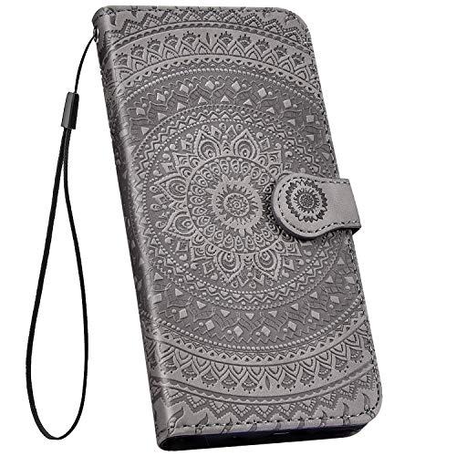 Ysimee kompatibel mit Samsung Galaxy A6 2018 Hülle 3D Bookstyle PU Leder Schutzhülle Wallet Flip Ledertasche Case Handyhülle Lederhülle Handy Tasche Schale [Standfunktion] [Kartenfach], Mandala Grau