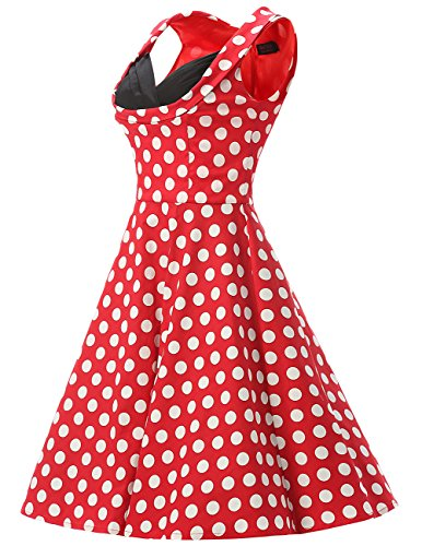 Dresstells, Version2.0 Vintage 1950's Audrey Hepburn robe de soirée cocktail, bal style années 50 Rockabilly Swing Rouge-Blanc