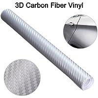 """Audew 12""""x60""""3D Film Vinyle Autocollant Voiture Fibre de Carbone Adhesif Thermoformable Gris Claire"""