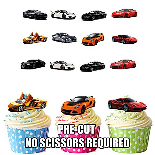 Sport Auto Party Pack, essbar, Stand-up Cup Cake Topper (36 Stück)