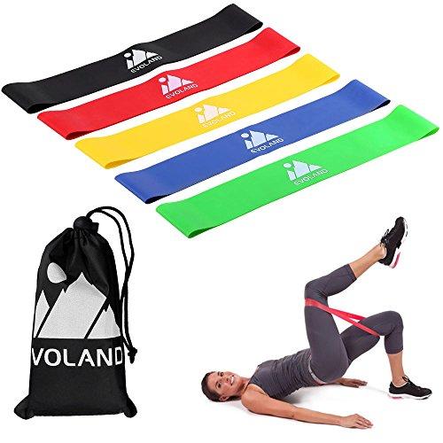 evoland elastici fitness resistenza, agm elastiche fitness banda elastica di lattice naturale fasce resistenza fitness glutei resistenza banda(5 pack)