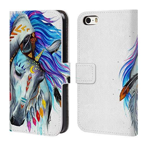 Head Case Designs Offizielle Pixie Cold Geist Tiere Leder Brieftaschen Huelle kompatibel mit iPhone 5 iPhone 5s iPhone SE Iphone 5 Tier