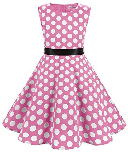 MUADRESS MUA6003 Mädchen Vintage Kleid Babykleider Polka Festlich 50er Kleid Rosa Große Weiß Punkte M