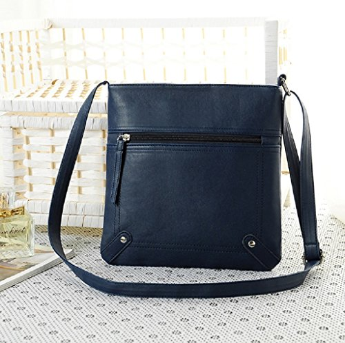 Borsa Familizo Elegant Leather Satchel delle donne di modo di Crossbody spalla borsa Messenger Bag Blu