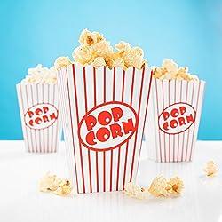 24 x palomitas de maíz rojo-de colour blanco con diseño a rayas - Caja de palomitas de maíz para noche de cine, Hollywood Party & co
