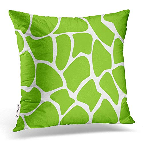 VANESSA Throw Pillow Covers Giraffe Print Pattern In Lime Green Pillowcases Polyester Square with Hidden Zipper Home Sofa Cushion Decorative Pillowcase 16x16 inch - Lime Green Dye