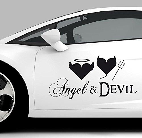 GRAZDesign 740005_20_AF041 Auto-Aufkleber Tattoo für Auto lustiges Spruch Angel & Devil Engel Teufel | Heckscheiben-Aufkleber Selbstklebend (40x20cm//041 Pink)