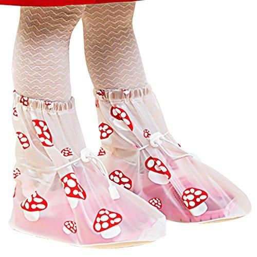 Größe Kinder 4 Stiefel Regen (Sasairy Kinder Niedlich Schuhüberzieher Wasserdicht Anti-Rutsch Outdoor Regenüberschuhe für Mädchen Jungen Blau/ Schwarz mit S - XL)
