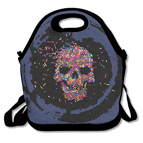 (Candy Skull A Day Lunch Bag Tote Handbag Lunchbox For School Work Outdoor)