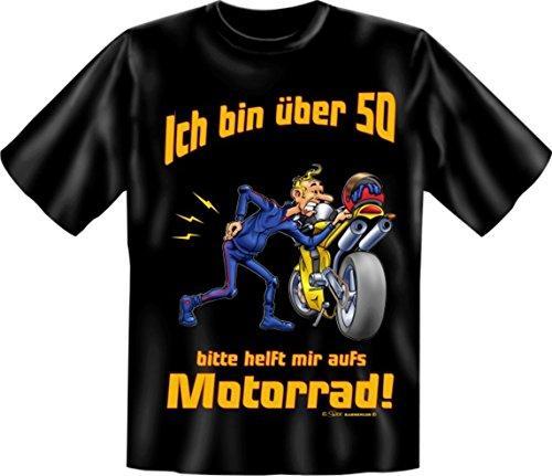 Biker T-Shirt Mit über 50 aufs Motorrad Shirt 4 Heroes Geburtstag Geschenk geil bedruckt mit Urkunde (Motorräder Über T-shirt)