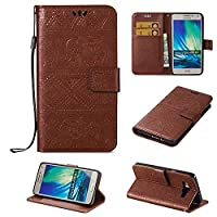 Galaxy A5 Wallet Case, ESSTORE-EU Retro Elephant PU Leather Protective Covers with Card Slot Holder Wallet Case for Samsung Galaxy A5, Brown