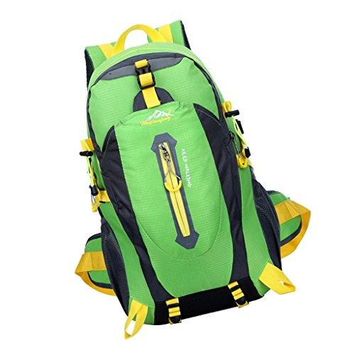40L Wasserfeste Sporttasche, Trekkingsack für Reisen, Wandern, Trekking, Bergsteigen, Klettern, Radfahren, Camping Grün