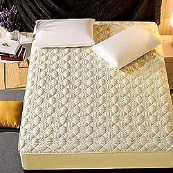 Draps en Une Seule pièce de Coton matelassé Housse de Protection épaisse Couverture de Matelas antidérapante Couvre-lit d'hôtel Fleur de pêche - Section Standard Jaune 200x220cm