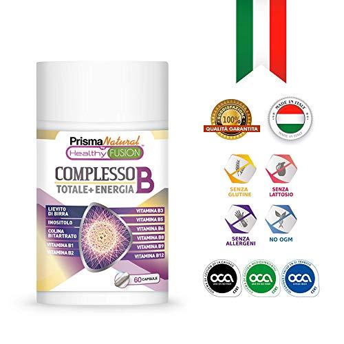 Complesso Vitaminico B con vitamine B1, B2, B3, B5, B6, B9, B12 | Rafforza il Sistema Immunitario | Fornisce Energia | Protegge il Sistema Cardiovascolare e mantiene la Salute Cerebrale | 60 capsule