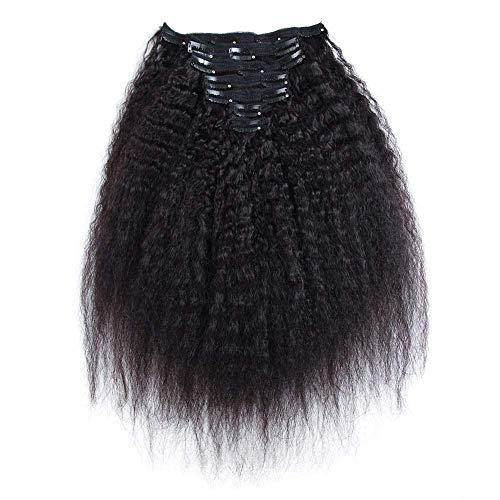 JIAMEISI Clip In Haarverlängerung Extensions Echthaar Clip In Glatt Remy Human Hair Clips für komplette Remy Echthaar 7 teilig 16 Clips(25cm,120g,#1B Naturschwarz) (Clip In 100 Human Hair Extensions)