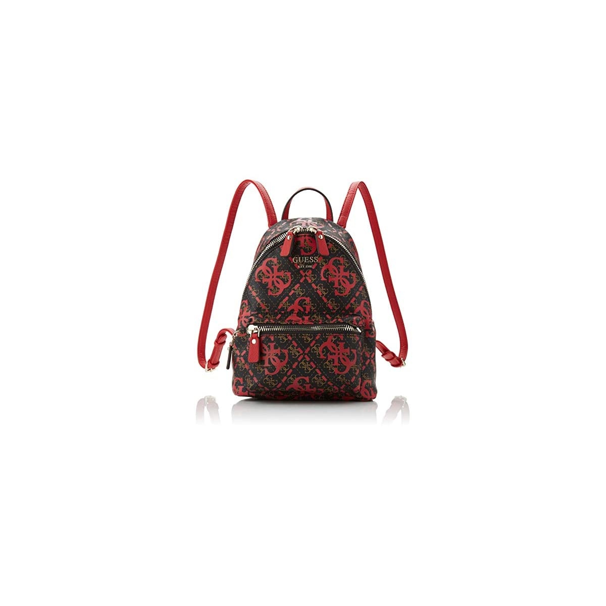 51AMYyUJByL. SS1200  - Guess - Leeza Backpack, Mujer, Multicolor (Red Multi), 22x29x10.5 cm (W x H L)