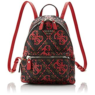 Guess – Leeza Backpack, Mujer, Multicolor (Red Multi), 22x29x10.5 cm (W x H L)