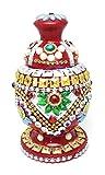#7: Craft Hand Wedding Sindoor Box/Wooden Sindur Dani with Meena Work-(L x W x H in cm) :- 7x7x12