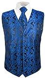 Festliche Jungen Anzug Weste mit Krawatte 2tlg schwarz blau paisley für Kinderanzug Gr. 14