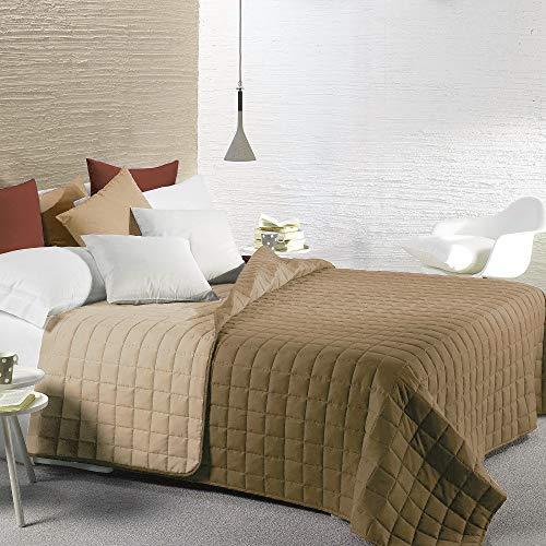 Caleffi Modern, couvre-lit matelassé pour lit Double face en microfibre taupe