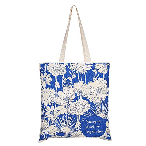 EcoRight-Reusable-100-Cotton-lightweight-EcoFriendly-Tote-Bag-Printed-Flowers