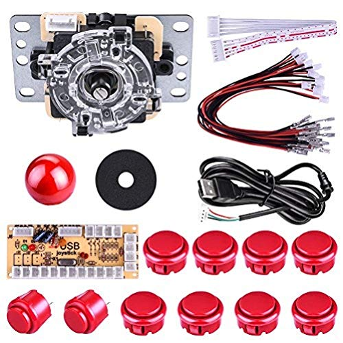Quimat Arcade Game DIY Parts kit for PC and Raspberry Pi 1/2/3 with RetroPie, 5Pin Joystick, 8x 30MM and 2x 24MM Buttons (red)