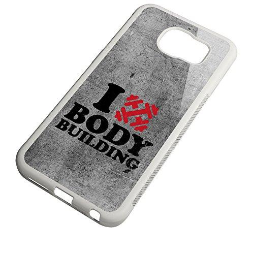 Smartcover Case I love Bodybuilding z.B. für Iphone 5 / 5S, Iphone 6 / 6S, Samsung S6 und S6 EDGE mit griffigem Gummirand und coolem Print, Smartphone Hülle:Iphone 6 / 6S schwarz Samsung S6 EDGE weiss