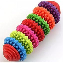 aaa226mascotas perros cachorro Masticar juguete colorido goma saludable Dental dentición Juguete