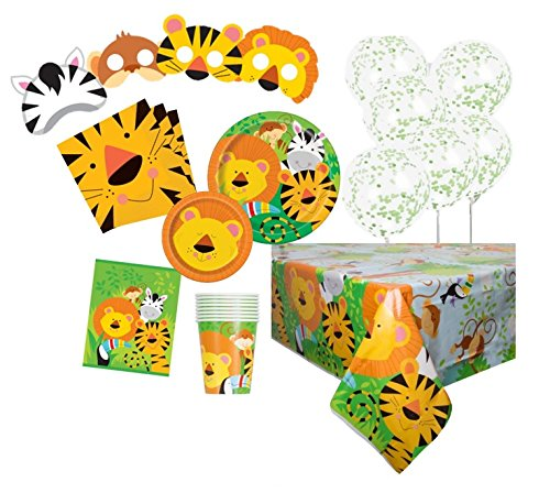 Animal Jungle Party Supplies Kit für 8 (Safari Luftballons Für Baby-dusche)