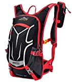 Cycling Backpack 18L, Water-resistant Breathable Cycling Bicycle Bike Daypack Ultralight Outdoor Sports Riding Travel Mountaineering Hydration Water Bag Unisex with Rain Cover(Red)
