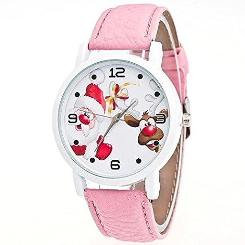 Zolimx Weihnachten Ältere Muster Lederband Uhren (Rosa)