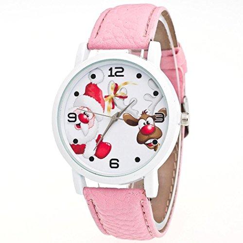 Zolimx Weihnachten Ältere Muster Lederband Uhren (Rosa) (Taucher Kostüm Halloween)