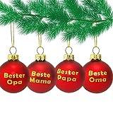 MC Trend Glas Weihnachtskugeln mit Mama - Papa - OMA - Opa - Rote Kugeln mit Goldenem Druck Geschenk Anhänger Weihnachtsbaum (4er Set Mama + Papa + OMA + Opa)