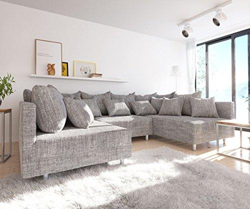 Sofa Clovis erweiterbares Modulsofa Eckcouch Wohnlandschaft (Sofa mit Hocker, Grau) - 4
