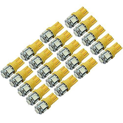 WINOMO 20pcs T10 W5W 5050 SMD 5 LED voiture lampe Blub Auto lampe W5W 2825 158 192 168 194 (jaune)