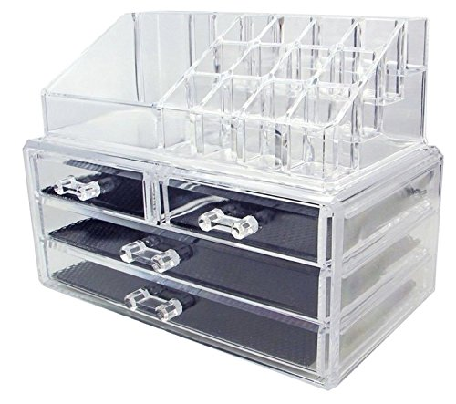 Kamay's Big Size Makeup Case Acrylic Clear Cosmetic Organiser Display Box Acrylic Makeup Storage 4 Drawers Plus Lipstick Makeup Brush Tray Top Section Jewelry Display Box Case(SF-1155)