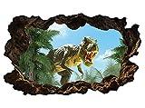 3D Wandtattoo Kinderzimmer cartoon T-Rex Dino böse Dschungel Drache Wand Aufkleber Wanddurchbruch sticker selbstklebend Wandbild Wandsticker Wohnzimmer 11P446, Wandbild Größe F:ca. 97cmx57cm
