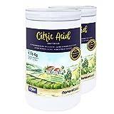 Nortembio Acido Citrico 2x1,15 kg. Polvere Anidro, 100% Puro. per Produzione Biologica. E-Book Incluso.