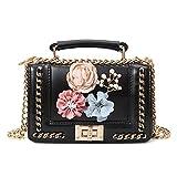 Plot Umhängetasche Damen,Kette Tasche Handtaschen Damen Schultertasche Damen Tasche Sale mit Blumen, Größe: 20cm(L)*6cm(W)*12cm(H)
