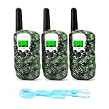 Fansteck 3PACK Walkie Talkie Walkie Talkie Bambino Portatile a Lunga Trasmissione 3 km a 8 canali Schermo LCD con 3 Corde Bambini - Camouflage