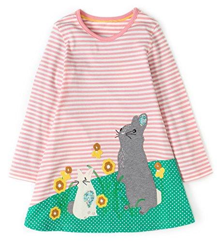 Kaily Mädchen Baumwolle Langarm T-Shirt Kleid (3T/3-4Jahre, PinkWhite) (3t-shirt)