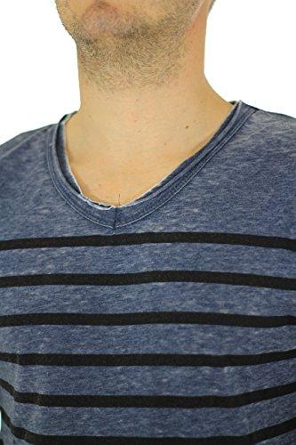 Japan Rags Herren Langarmshirt Blau - Blau
