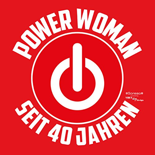 Damen Girlie T-Shirt Geschenk zum 40 Geburtstag für Frauen :-: witzige Geschenkidee :-: Power Woman seit 40 Jahren :-: Geburtstagsgeschenk Powergirl - Farbe: rot Rot