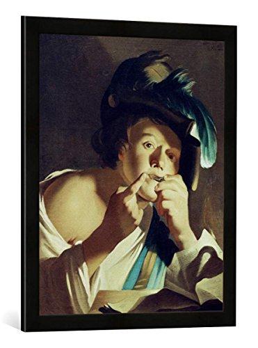 """Gerahmtes Bild von Dirck van Baburen """"Junger Mann mit Maultrommel"""", Kunstdruck im hochwertigen handgefertigten Bilder-Rahmen, 50x70 cm, Schwarz matt"""