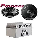 Audi A3 8L Heck - Lautsprecher Boxen Pioneer TS-G1720F - 16cm 2-Wege Koax Koaxiallautsprecher Auto Einbausatz - Einbauset