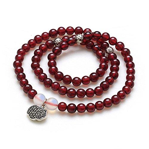 vin rouge grenat bracelet/Accessoires multicouches de cristal naturel/ Bracelets de perles de Bouddha N